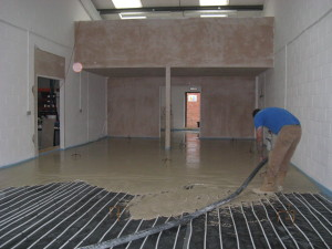The Gyvlon screed is poured