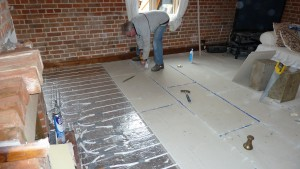 Laying UFH overlay boards