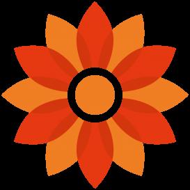 R A Brown logo flower