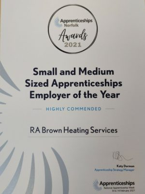 Highly Commended Apprentice Employer of the Year 2021
